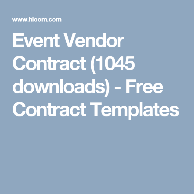 Event Vendor Contract  Downloads  Free Contract Templates