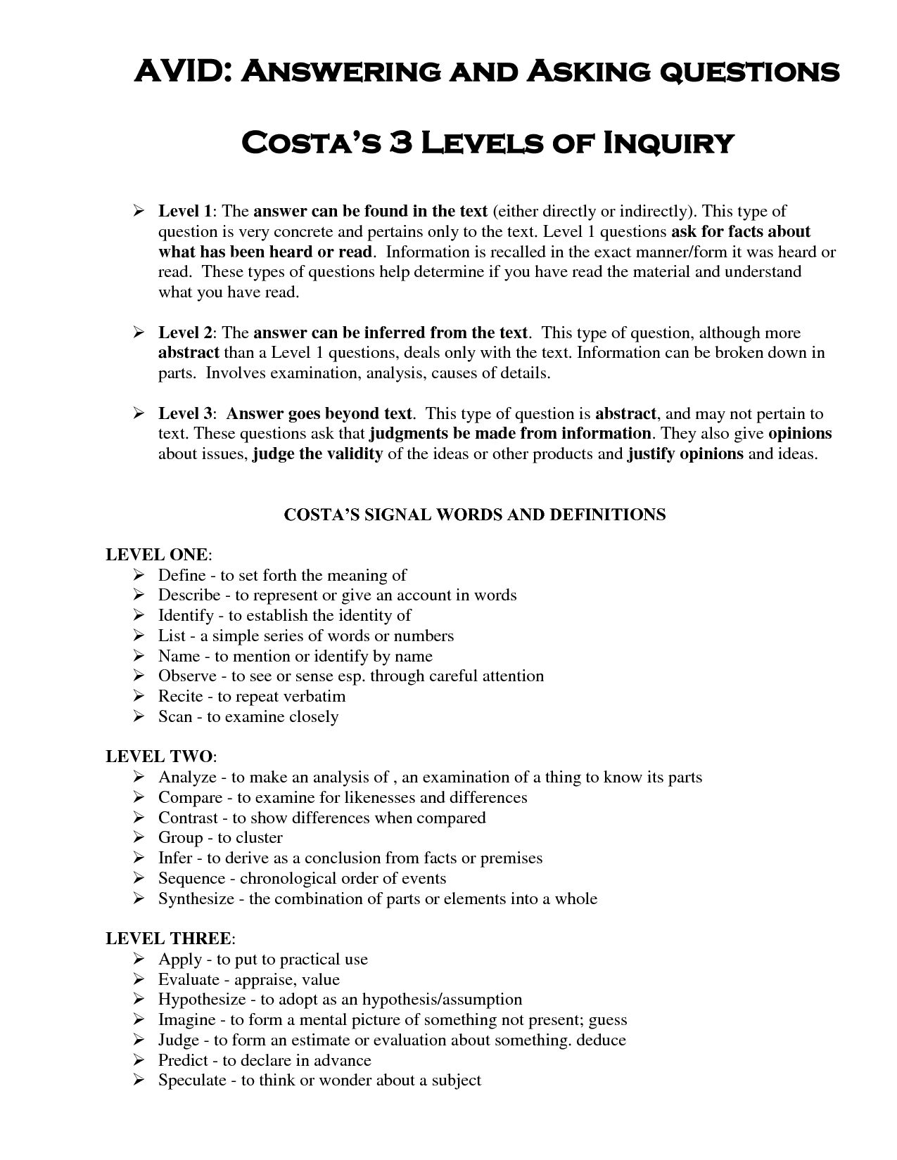 Costa S Questions