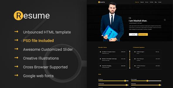 Resume  Resume Cv  Vcard  Unbounced Html Template  Resume