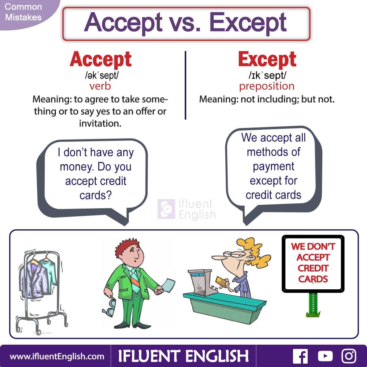 Common mistakes accept vs except english pinterest english common mistakes accept vs except stopboris Gallery