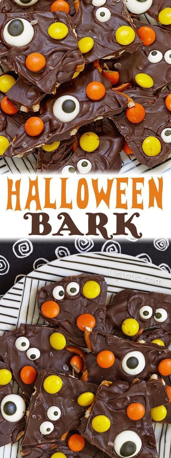 Chocolate Halloween Bark Candy. Melting chocolate, Reese pieces  and eye ball candies to create a holiday themed candy treat for Halloween. Perfect for school Halloween Party, party favors and party bags. DIY kids Halloween Treat for school or trick or treating. Yummy Treat or dessert for kids or adults. #halloweenrecipe #chocolate #halloweendesserts #halloweentreats #halloweentreatrecipe #halloweenparty #halloweenpartyfood #partyfood  #partytreats #halloweentreatsforschool Chocolate Halloween B #halloweentreatsforschool