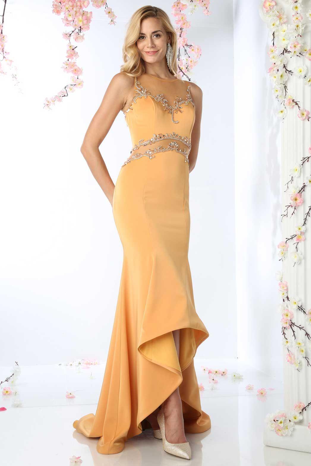 Apricot long prom dress with asymmetrical hem