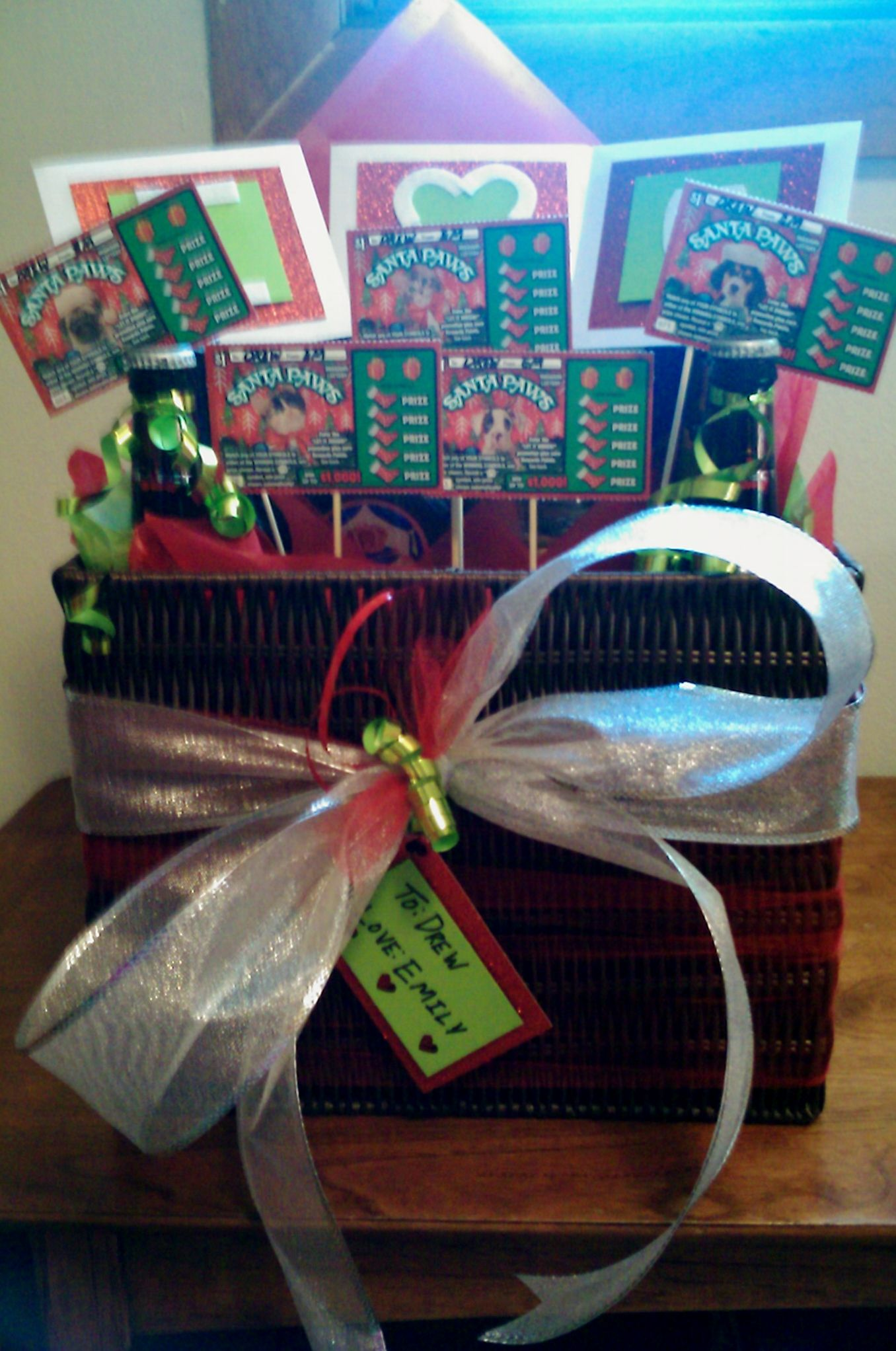 A Christmas Gift Basket Idea Includes themed lottery tickets, gift ...