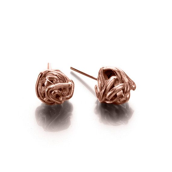 Knot Stud Earrings, 14k Rose Gold Wire Knot Stud Earrings, Wire Ball Post Earrings Red Gold Post Earrings, Rose Gold Knot Studs #rosegold http://www.liatwaldman.com/