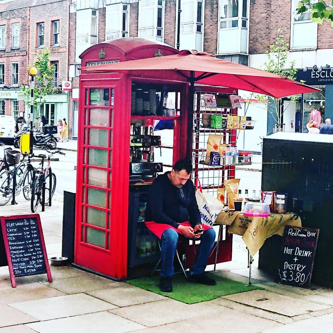 Zoom In Red Phone Box That Is Now A Coffee Shop Such