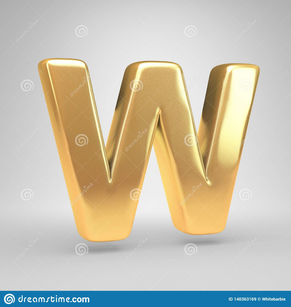 3d Letter W Uppercase Shiny Golden Font Isolated On White Background Stock Image Image Of Rendering Alphabet 140 Gold Letters Bright Gold White Background