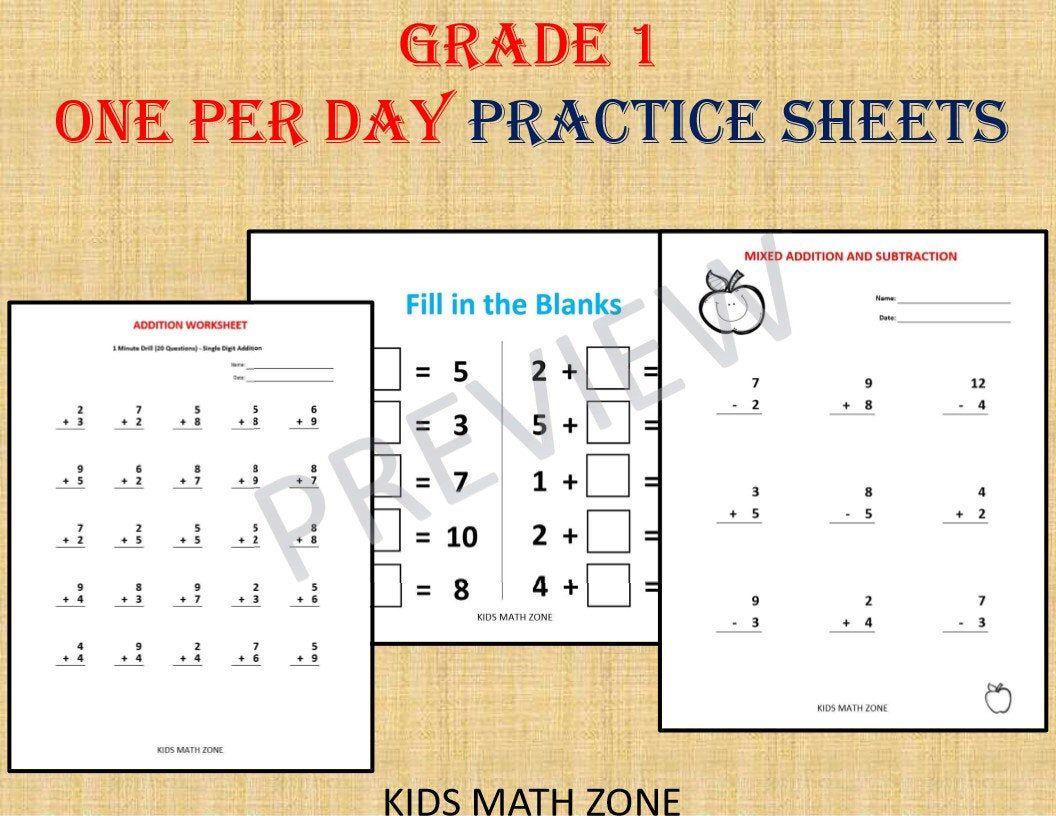 Grade 1 Bundle One Per Day Over 120 Math Worksheets Pdf