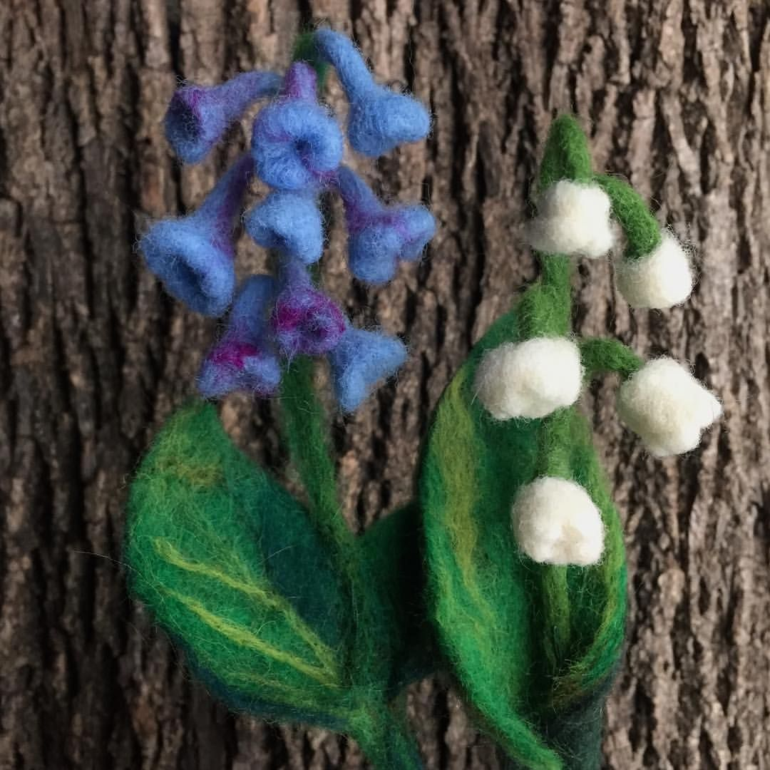 Needle Felted Bluebells And Lily Of The Valley Needle Felting Lily Of The Valley Bluebells