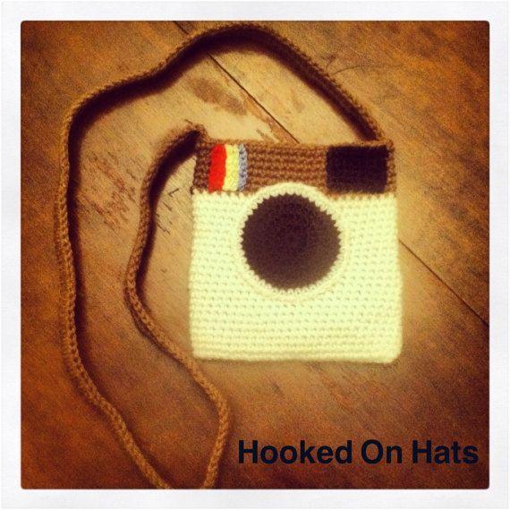 Crochet camera purse by HookedonhatsByAli on Etsy #crochetcamera Crochet camera purse by HookedonhatsByAli on Etsy #crochetcamera