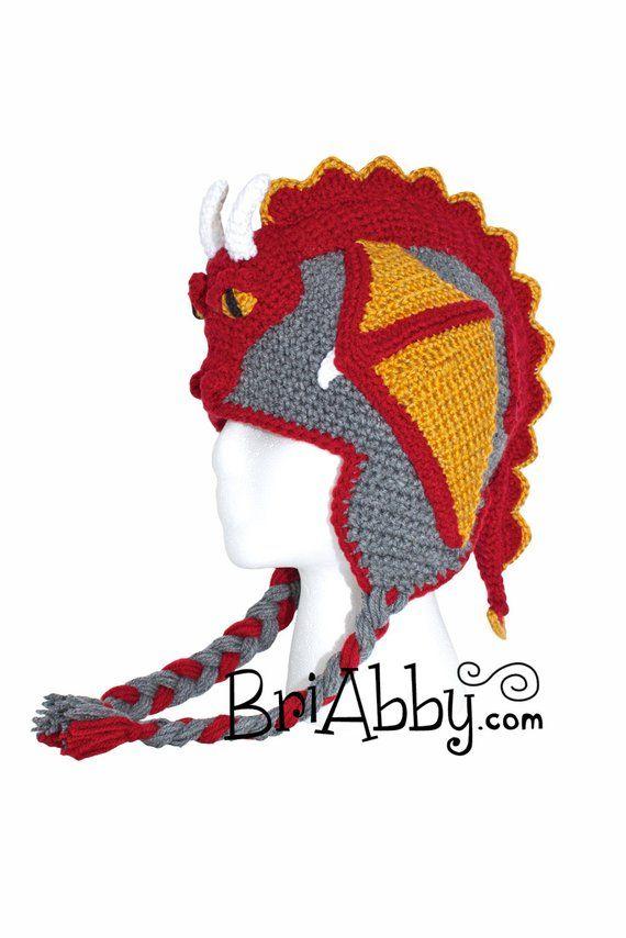 CROCHET PATTERN. Crochet Dragon Hat Pattern (PDF File)   Halloween ...