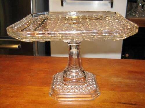 Stunning Vintage Unique Designed Pressed Glass Square