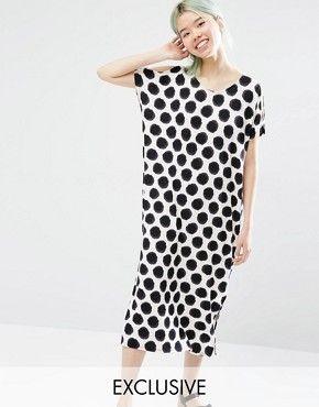 Exklusives mittellanges MonkiMonki Kleid Pünktchen Shirt T mit W9HDE2I