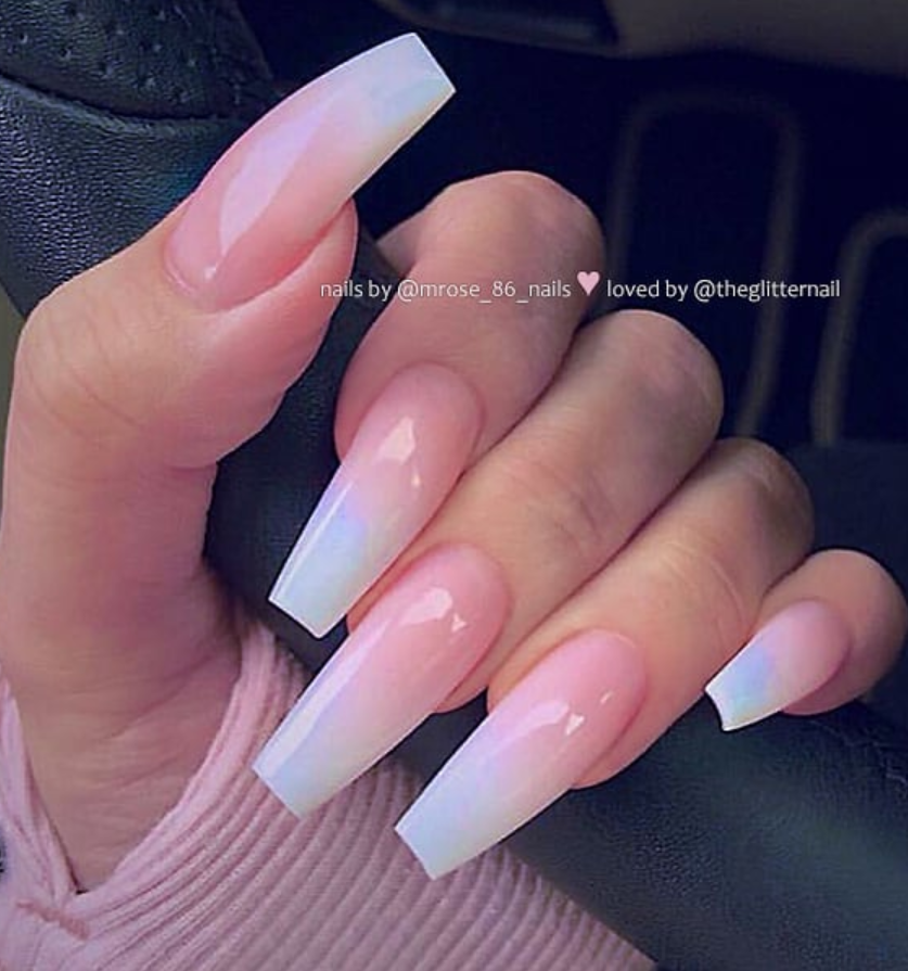 50 Pretty French Pink Ombre And Glitter On Long Acrylic Coffin Nails Design For Spring & Summer