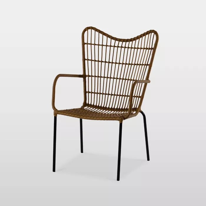 wingback patio accent chair natural