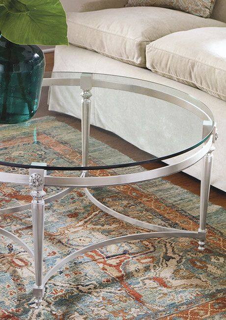 Coffee Tables Beautiful Made In Italy Round Coffee Table With Polished Nickel Finish And Glass