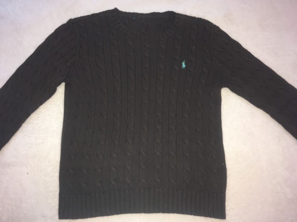 Polo Ralph Lauren Womens Cotton Cable Knit Ls Crew Neck Dark Brown