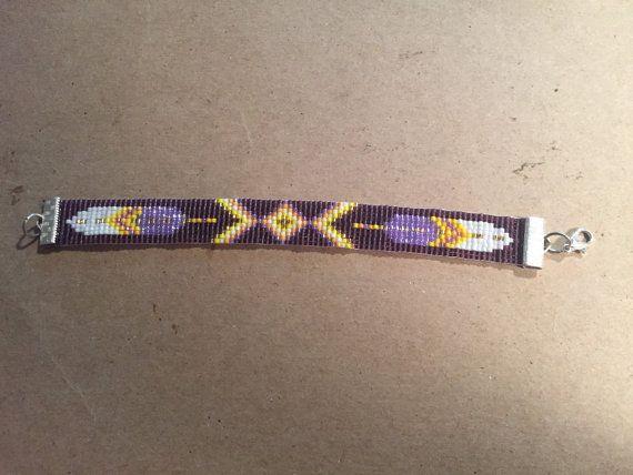 Feather Indiaanse geïnspireerd patroon paars en door Traceysbeading