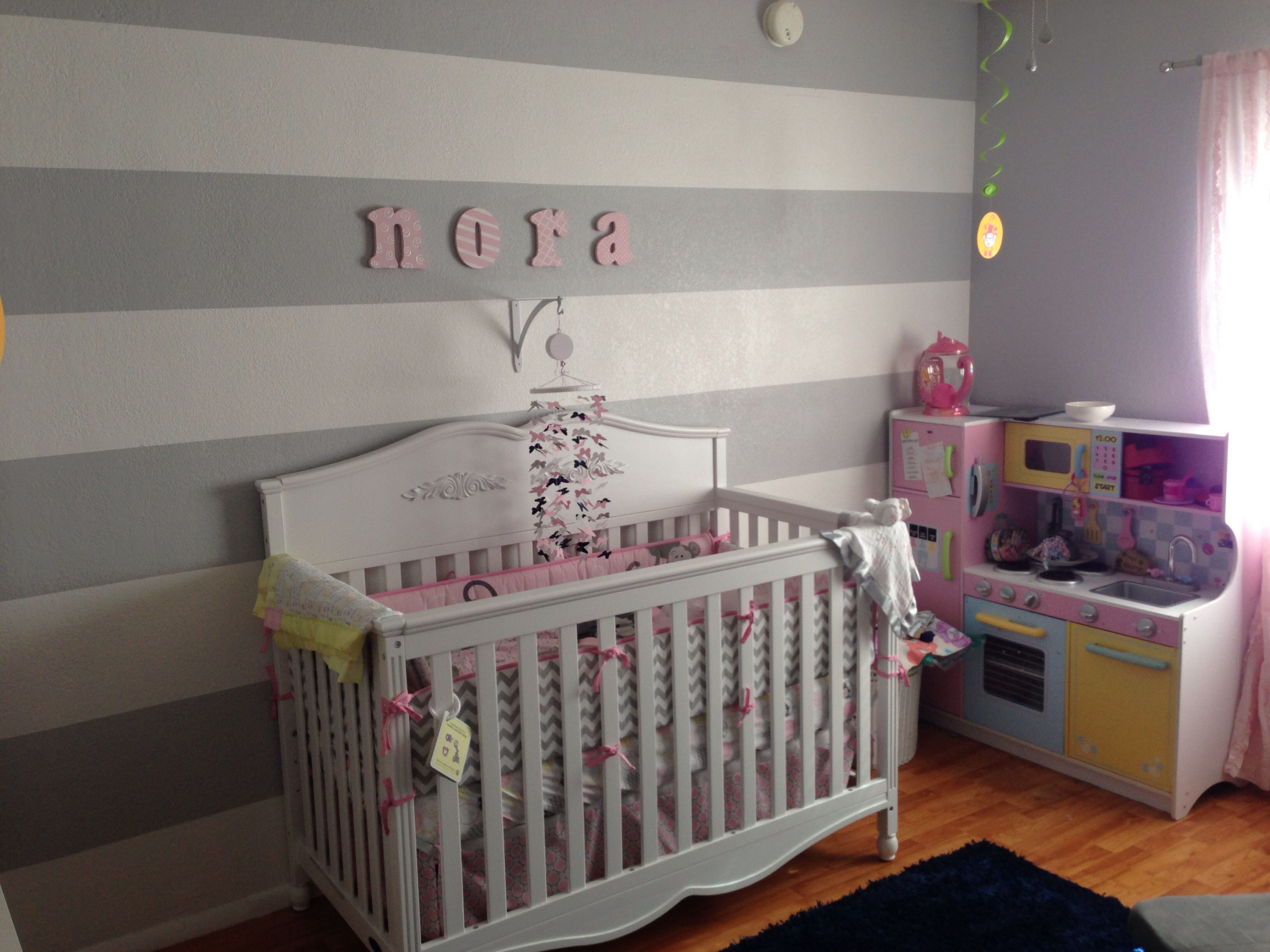 nursery with white furniture. Nursery With White Furniture. Our Baby Girl\\u0027s Nursery. Gray Stripes Furniture T