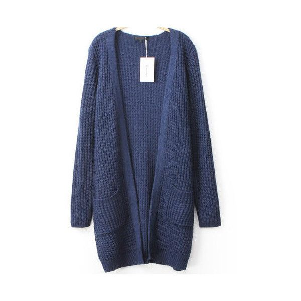 Pockets Knit Navy Cardigan ($21) ❤ liked on Polyvore featuring ...