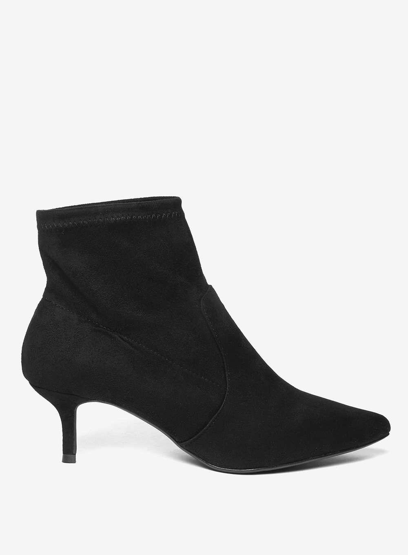 Womens Wide Fit Martine Kitten Heel Boots Black Boots Kitten Heels Kitten Heel Boots