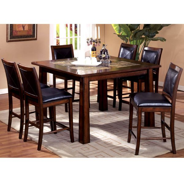 Simple Style Interior Design With 7 Pieces Counter Height Dining Table Set,  Dark Brown Finish