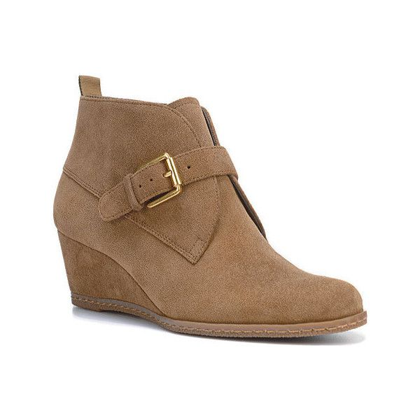 Women's Franco Sarto Amerosa Wedge Bootie - Khaki Suede Ankle Boots ($139)  ❤ liked