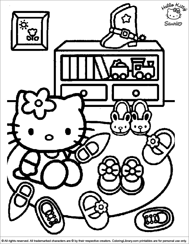 Hello Kitty Coloring Page Hello Kitty Is Showing Off All Her Shoes Hello Kitty Colouring Pages Hello Kitty Coloring Kitty Coloring