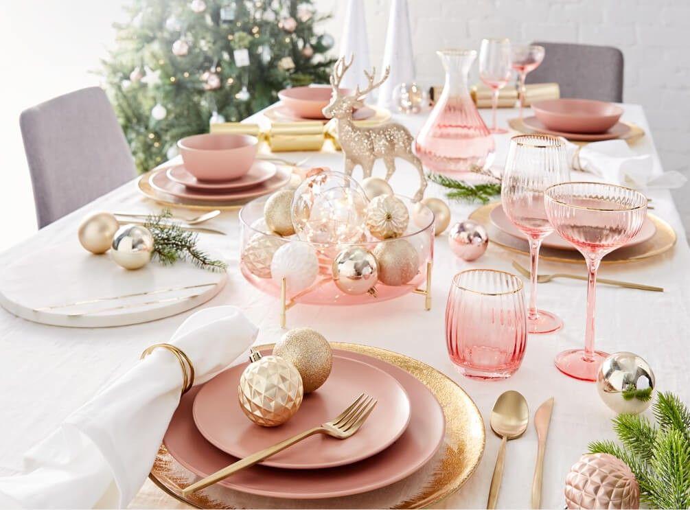 Blush And Silver Christmas Table Kmart Australian Style Christmas Dinnerware Christmas Day Lunch Pink Christmas Table Setting