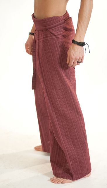 Red Line Pattern Fisherman Pants.    Thai Fisherman Pants are suitable for both men  women, unisex    100% cotton.      For a video guide on how to wear/tie Fisherman Pants go to our; http://blog.bindidesigns.eu/how-to-wear-thai-fisherman-pants-video-guide/        Follow BindiDesigns; https://facebook.com/BindiDesigns - https://twitter.com/bindidesigns  page for stock status updates