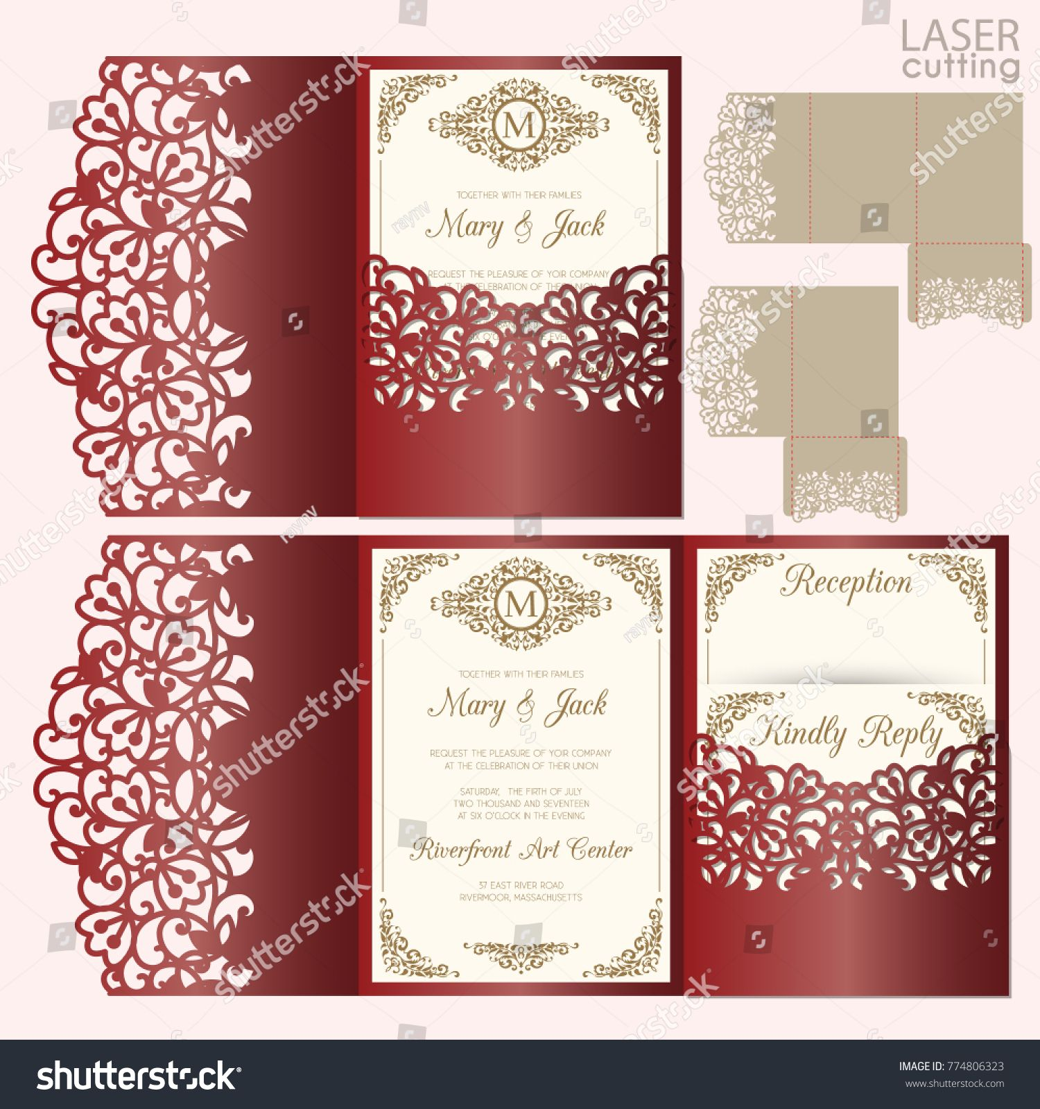 Die laser cut wedding card vector template. Invitation envelope ...