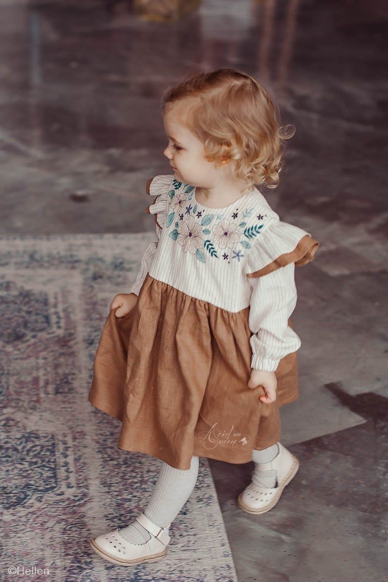 Linen dress embroidery dress embroidered dress linen baby  Etsy