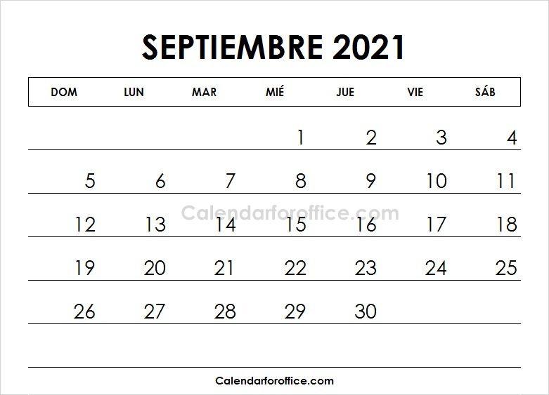 Calendario 2021 Septiembre Imprimir