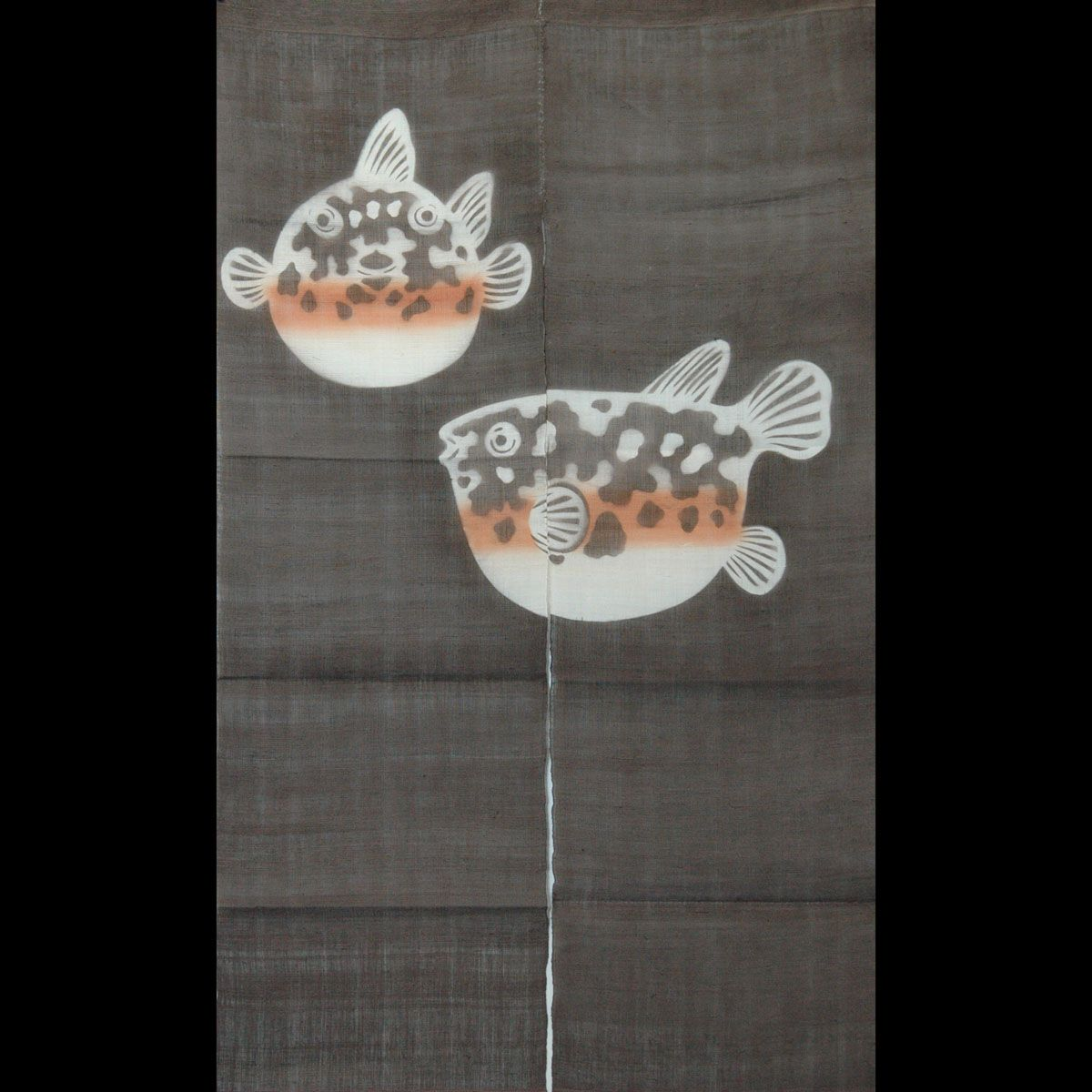 Noren, Japanese Curtain, Fugu Fish On Brown, Linen Noren