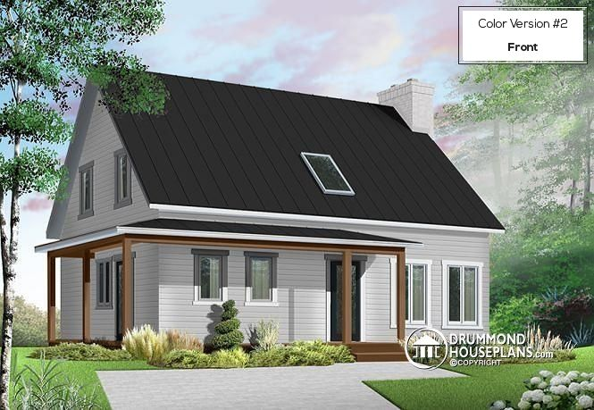 W4571 - Scandinavian style house plan, 3 bedrooms, kitchen booth ...