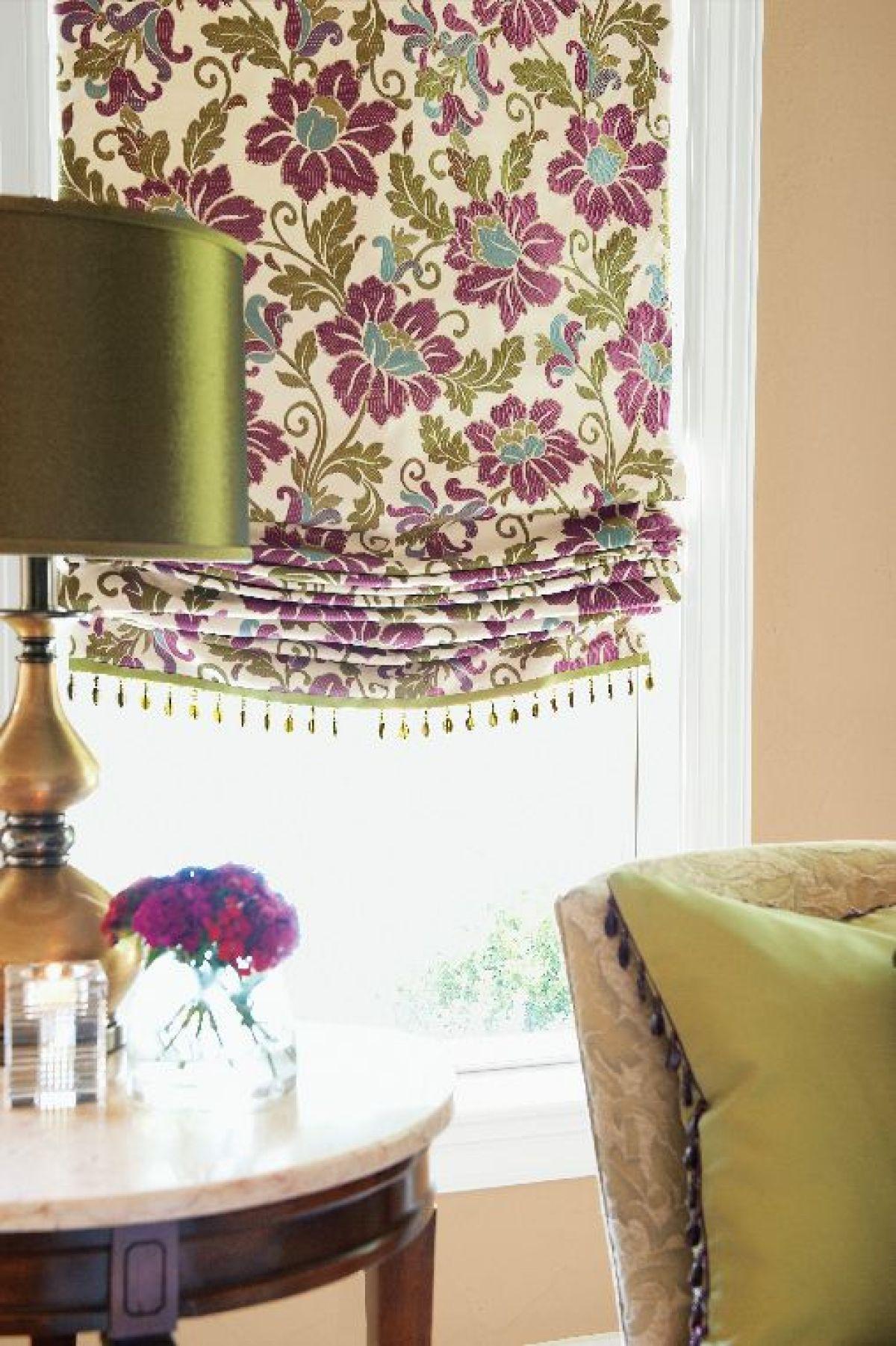 Roman Shade With Bead Fringe Custom Window Treatments