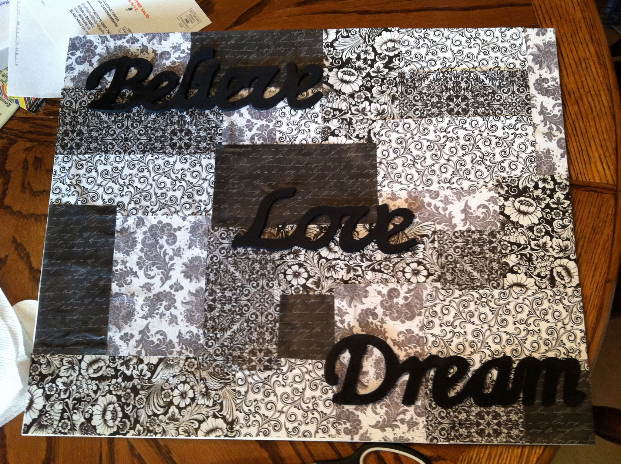 Scrapbook paper art ideas - Scrapbook Paper Canvas Art