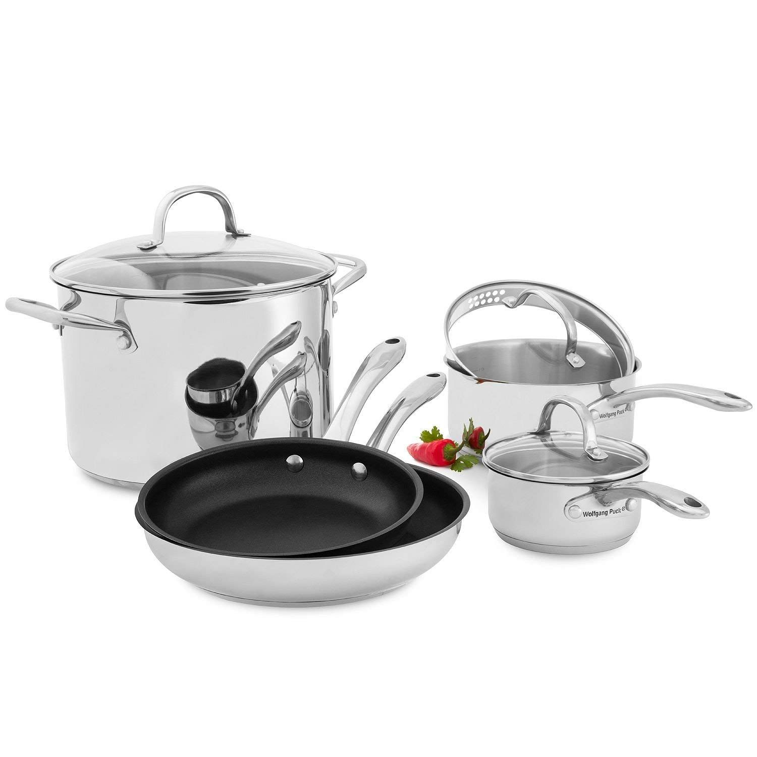 Amazon Com Wolfgang Puck Stainless Steel 18 Pc Cookware Set Home