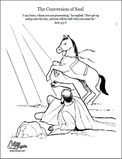 pauls conversion coloring page script and audio story at httpkidscorner