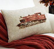 Train Lumbar Pillow Cover