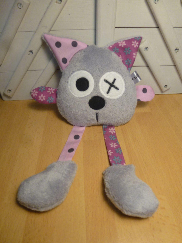 Doudou chat gris violet rose : Jeux, peluches, doudous par melomelie