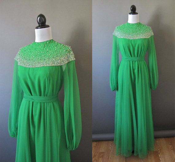 1960s vintage green beaded gown.  Look at that COLLAR.