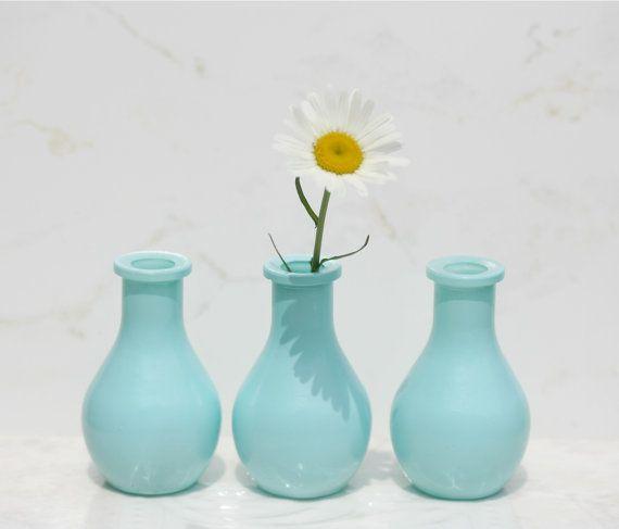 Set 10 Bud Vases 3 Inch Teal Vases Wedding Vase by FestivalReGlass
