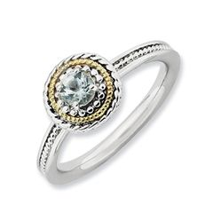 Stackable Expressions™ Rope Framed Aquamarine Ring in Sterling Silver and 14K Gold - View All Jewelry - Gordon's Jewelers