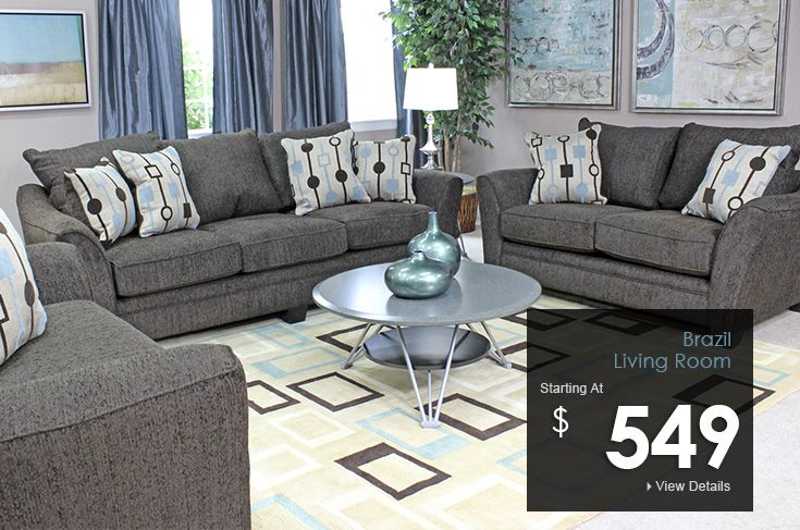 The Brazil Living Room Collection Charcoal Grey Couch And Chairs