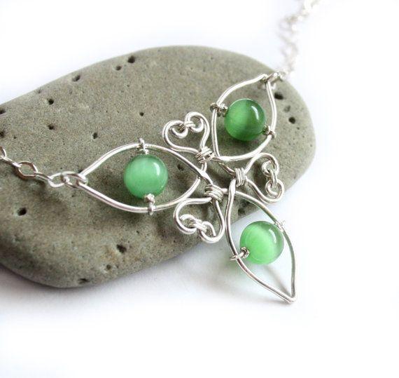 Keltische Knoten Triquetra Halskette - Silberdraht gewickelt und ...