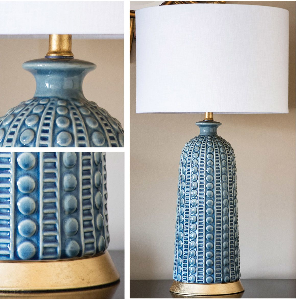 Blue Ceramic Table Lamp | Ceramic table lamps, Ceramic table and ...