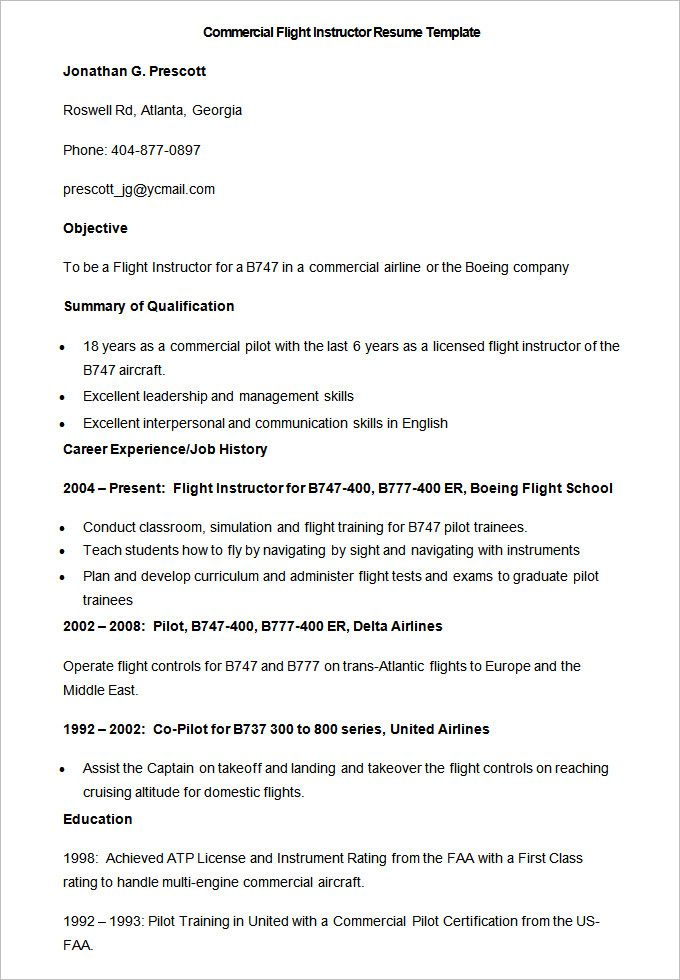 Sample Commercial Flight Instructor Resume Template , How to Make - pilot resume