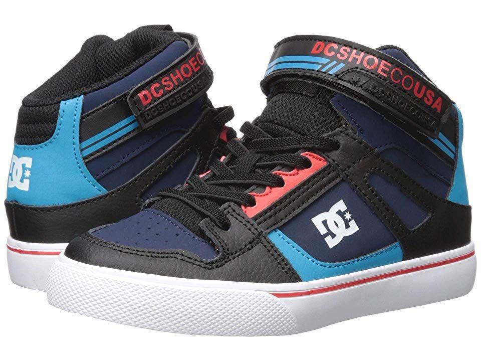 380e5cd3a6 DC Kids Pure High-Top EV (Little Kid/Big Kid) (Blue/Black/Red) Boys ...