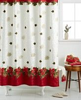 Lenox Holiday Poinsettia Tartan Shower Curtain