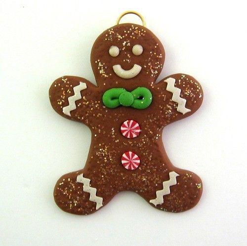 Mini Christmas Ornament Gingerbread Man Cookie Polymer Clay - Mini Christmas Ornament Gingerbread Man Cookie Polymer Clay